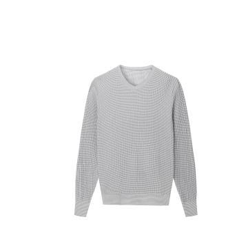 Men's Knitted Slim Fit Striped V-neck Pullover