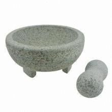 Granite Mortar and Pestle Set, 20cm Upper, 19.3cm Height, Polished Surface