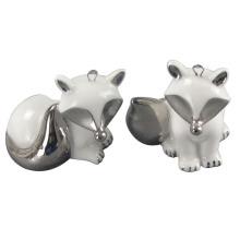 Animal em forma de artesanato de cerâmica, electroplate cerâmica Fox