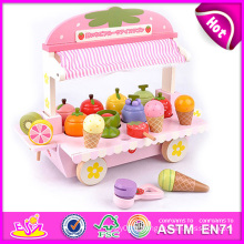 Jouet en bois coloré de crème glacée de 2014 pour des enfants, jouet en bois de crème glacée de jeu pour des enfants, jouet en bois de crème glacée de bande dessinée pour bébé W10b080