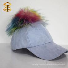 Nuevo diseño 5 panel cabido deportes béisbol ante cap con piel bola