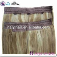 Extensões remotas do cabelo do fio de peixes do cabelo do indiano da parte inferior grossa de Remy do dobro de 120g Remy