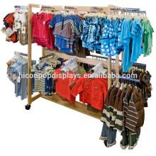 Ropa para niños Tienda de venta al por menor Tienda de madera de Haning Hierro de madera Ropa para niños móvil Góndola