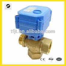 Válvula de latón DN20 de 3 vías de control eléctrico DC5V para protección del medio ambiente y sistema de drenaje de agua