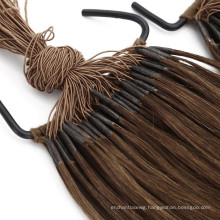 Quality Guaranteed Brown Color 20inch Size 100g Weight Straight Human Hair Virgin Hair Thread Tie Hair Extension