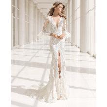 Falbala Langarm tiefem V-Ausschnitt vorne Split Lace Braut Abendkleid Brautkleid