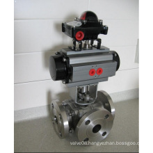 Ss Pneumatic/Electrical Three-Way Flange Ball Valve