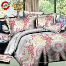 100% polyester 3d grande fleur design imprimer feuille de lit tissu