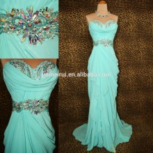 New Arrival Real Sample Pictures Sweetheart Mint Green Crystal Beaded Long Chiffon Prom Dress Women JPD172
