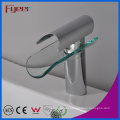 Fyeer Glass Waterfall Single Hole&Handle Basin Wash Faucet Water Mixer Tap