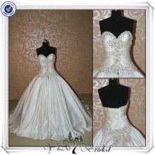 JJ3516 Real muestra pesado rebordear vestidos de novia de la falda desmontable