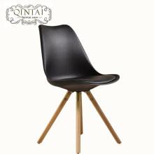 Alibaba Chine fournisseurs nouveau produit en cuir coussin en bois jambe tulipe commerciale chaise en plastique