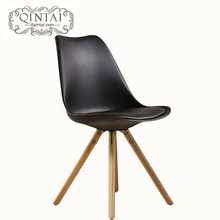 Alibaba China suppliers new product leather cushion wooden leg commercial tulip plastic chair