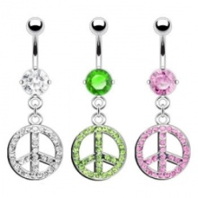 Belly Ring with Dangling Pave Jeweled Peace Sign