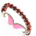 Perles rondes Jaspe rouge 8MM Stretch Gemstone Bracelet avec pièce de moustache Diamante