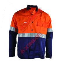 Duas cores de roupas anti-mosquito de mineração com tiras reflexivas de segurança
