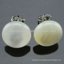 Boucles d'oreilles Hawaiian White Plumeria Round Shell Stud Earrings EF-014