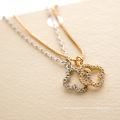 Personalized newest design delicate flexible clover cz pendant necklace