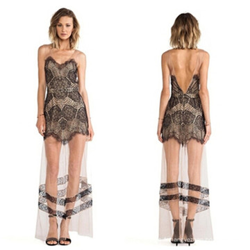 2015 Femmes élégantes et transparentes Backless Sexy Lace Maxi Long Dress
