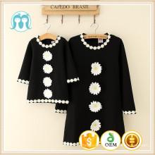 2016 les dernières femmes de conception robes de mode dames noires robe enfants robes d'automne avec des fleurs de marguerite