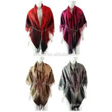 Ladies twill printed winter poncho shawl