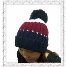 Sombrero hecho punto por encargo de la gorrita tejida con las rayas (1-3539)