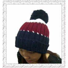 Custom Made Knitted Beanie Hat with Stripes (1-3539)