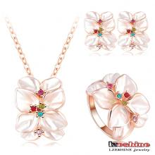 Ensembles de bijoux en fleurs émaillées blanches (ST0002-A)