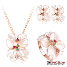 White Enamel Flower Jewelry Sets (ST0002-A)