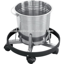 stainless steel kick bucket with lever on heavy mobile holder frame