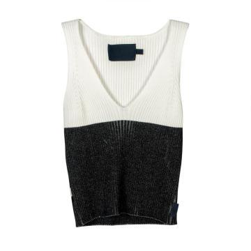 Tops de chaleco de suéter de punto con cuello en V bajo para mujer