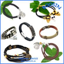 Moda barata pulseira de couro personalizado