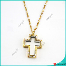 Crystal Gold Cross Floating Locket Pendant Necklace Jewelry (FL16040836)