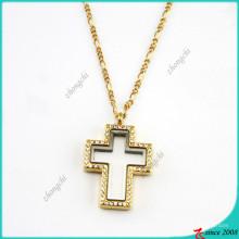 Кристалл Золотой крест с плавающей медальон Кулон ожерелье ювелирные изделия (FL16040836)