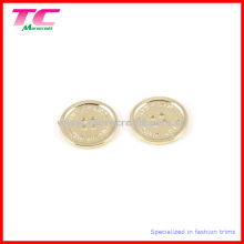 Branded Logo 4 Holes Metal Buttons in Light Gold Color (TC-BU1022)