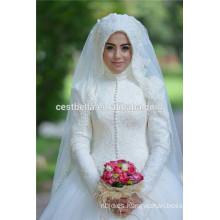 Vestido de novia musulmán de la manga larga de la A-line 2016 Vestido de la novia musulmán de la novia