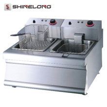 K016 Portable Counter Top Fast Food Equipment Restaurante 2-Tank 2-Basket Fryer elétrico