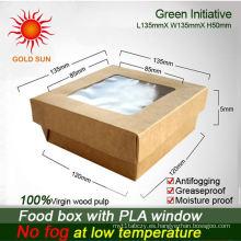 Caja de cartón para alimentos con ventana antiempañante
