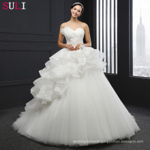 SL-038 New Arrival Tulle Beaded Lace Appliques 2016 Ball Gown Wedding Dress