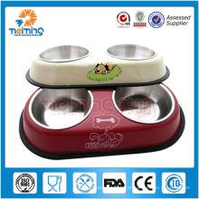 bacia / alimentador de alimentação de aço inoxidável do cão do comensal duplo antiderrapante