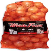 Высокая прочность оранжевая пластмасса PP лено шнурок мешок сетки