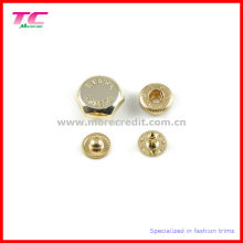Botão dourado brilhante do aperto da imprensa do metal do ouro da alta qualidade