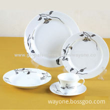 20-piece Dinnerware Set in Round Shape, Platinum Decal, for Hotel or Home, Food-safe, Lead-free