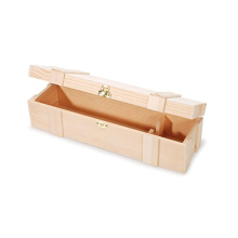 Hinged Clasp Single Unfinished Wooden Wine Box