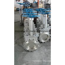 Vanne de fermeture à couteau CF8m en acier inoxydable pour broyeur de papier (PZ73X-10P-DN350)