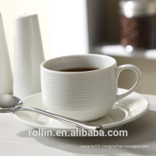 Rollin white ceramic coffee cups with lines