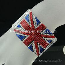 Bracelete magnético do jaque de união do rhinestone da forma para os meninos Bracelete BRITÂNICO BCR-016-1 do couro da bandeira