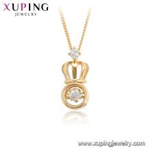44933 xuping 18k позолоченные корона форма танцы мода камень ожерелье