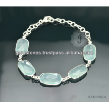 Sterling Silber Kette Chalcedon Edelstein Armband, modische Silber Kette Link Armband, Edelstein Silber Kette Link Armband