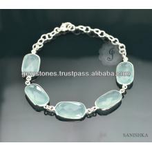 Cadena de plata de ley Calcedonia pulsera de piedras preciosas, pulsera de moda de plata Cadena, pulsera de plata Cadena de piedras preciosas